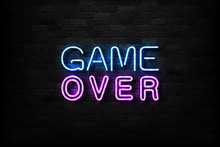 Vector Realistic Isolated Neon Sign Of Game Over Logo For Decoration And Covering On The Wall Background. Concept Of Gaming.