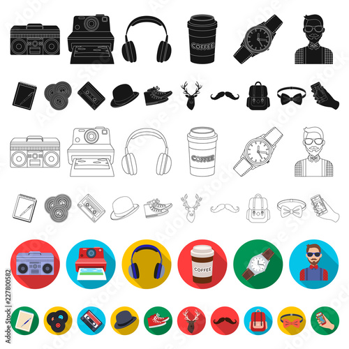 Style Hipster flat icons in set collection for design Wallpaper Mural