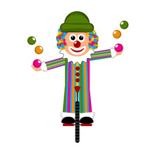 Happy Circus Clown On A Monocycle. Vector Illustration Design