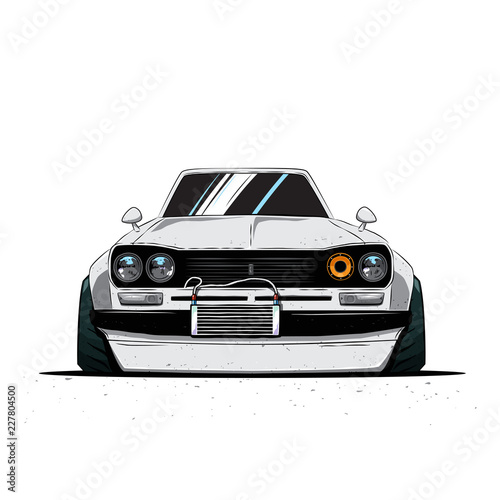 Cartoon japan tuned old car isolated Wallpaper Mural