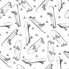 Vector seamless pattern white contour cartoon skateboards.