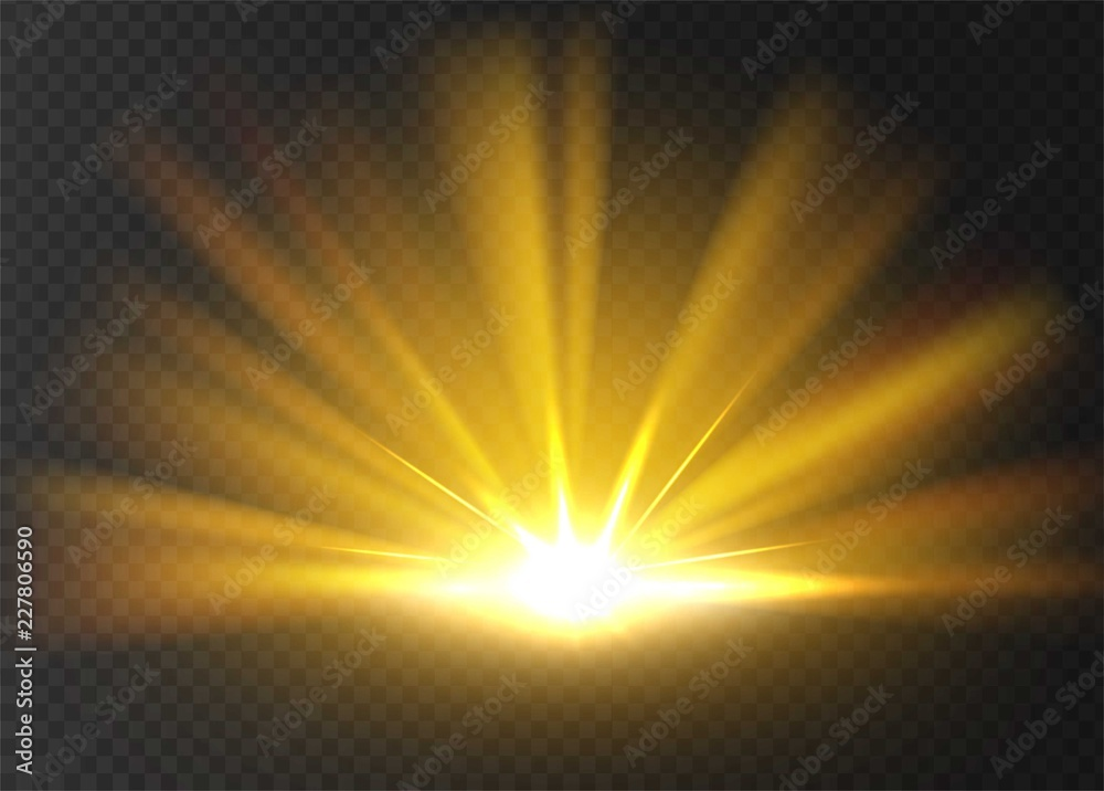 Fototapeta Abstract golden bright light. Gold shine burst isolated on transparent background. Bright and shine golden light star. Vector illustration.