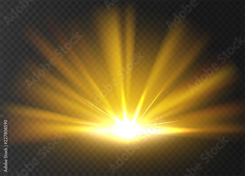 Abstract golden bright light. Gold shine burst isolated on transparent background. Bright and shine golden light star. Vector illustration.