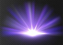 Abstract Violet Bright Light. Violet Shine Burst Isolated On Transparent Background. Bright And Shine Violet Light Star. Vector Illustration.