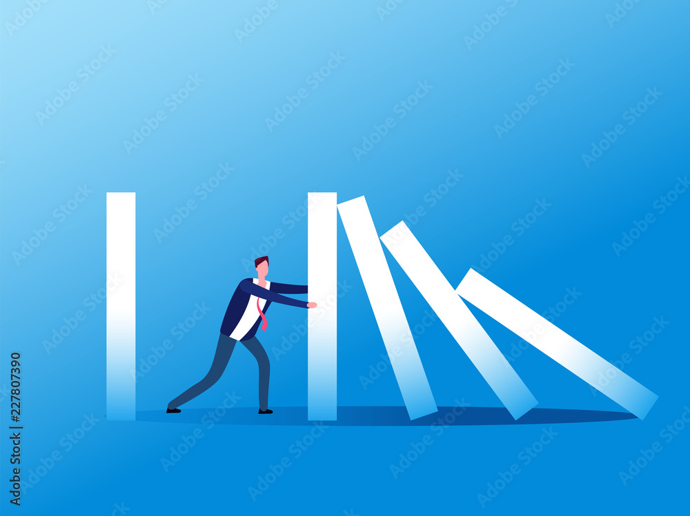 Fototapeta Domino effect. Businessman stopping falling domino. Crisis management, finance intervention and conflict prevention vector concept. Business management stop domino effect illustration