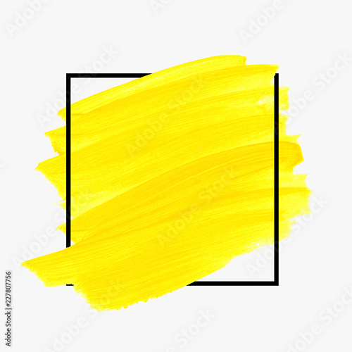 Cuadros en Lienzo Brush painted acrylic abstract background illustration vector over square frame