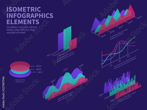 Isometric infographic elements  3d graphs, bar chart, market