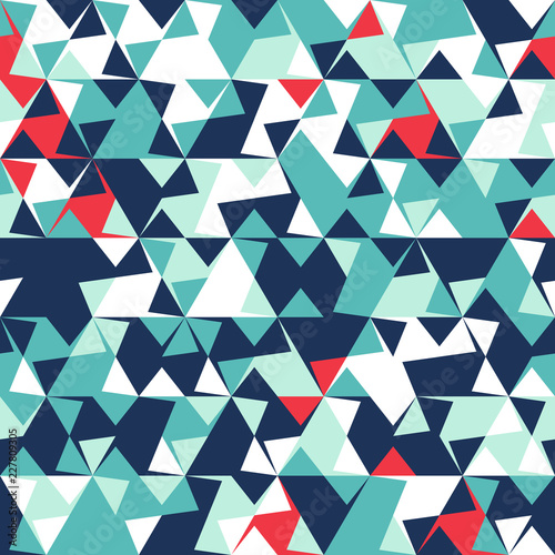fototapeta na szkło Abstract seamless pattern of corners and triangles. Optical illusion of movement. Bright youth pattern.