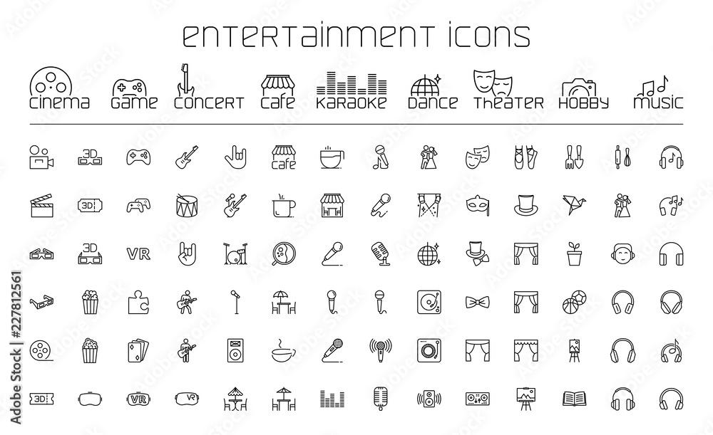 Fototapety, obrazy: thin line entertainment icons set on white background
