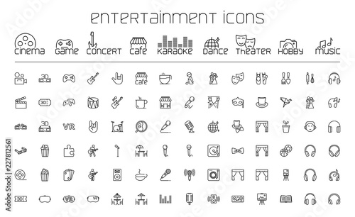 Obraz thin line entertainment icons set on white background - fototapety do salonu