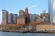 Panoramic image of lower Manhattan skyline from Staten Island Ferry boat, New York City.