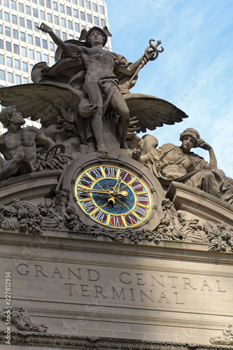 New York, USA - November 20: The iconic beaux arts statue of the Greek God Mercu Wallpaper Mural