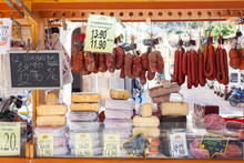 Traditional Majorcan Sobrassada Saussage And Mahon Cheese For Sale At A Local Market In Esporles, Mallorca, Spain
