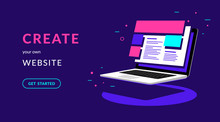 Create Your Own Website Flat Vector Neon Illustration For Web Banner With Text And Button. Isometric Laptop With Templates For Developing Corporate Website Or Online Shop On Violet Background