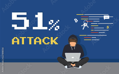 Photo 51% attack concept flat criminal illustration of hacker coding bug to hack a blockchain network