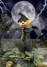 A Close-up Portrait Of A Scarecrow With A Halloween Pumpkin Head.