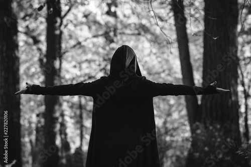 View from the back on a black witch in a mantle during ritual in a forest Fototapete