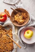 Autumn Vegan Apple Oat Crumble Pie In Coconut Bowl, Top View.
