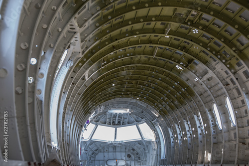 Photo empty airplane airframe / fuselage without any equipment and no panels installed