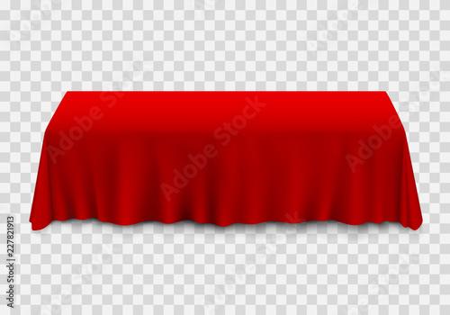 Obraz na plátně Table with tablecloth red on a transparent background