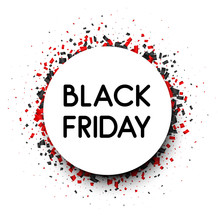 Black Friday Sale Round Promotion Poster With Red And Black Confetti.