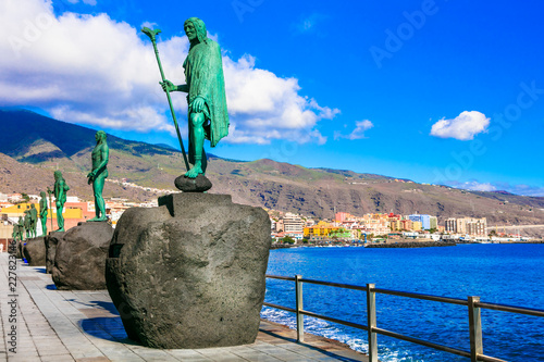 Landmarks of Tenerife - Guanche kings in Candelaria, coastal town, popular tourist attraction. Canary oslands