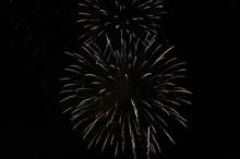 Golden Fireworks In Black Back...