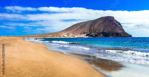 Best beaches of Tenerife island - La Tejita beach (el Medano).popular for wind surfing