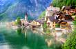 Leinwanddruck Bild - Landmarks of Austria - emerald lake and beautiful village Halstatt in Austrian Alps