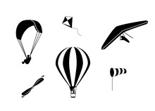 Set Of Vector Icons Hot Air Ba...