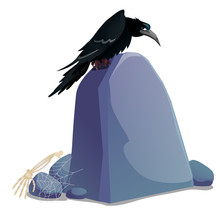 Black Crow Sitting On Grave Stone Plate With Blank Surface And Space For Your Text Isolated On White Background. Sketch For Poster Or Card For Holiday Of All Evil Spirits Halloween. Vector Cartoon.