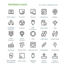 Hardware Icons - Outline Styled Icons, Designed To 48 X 48 Pixel Grid. Editable Stroke.