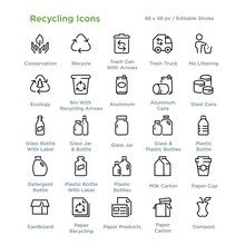 Recycling Icons - Outline Styl...