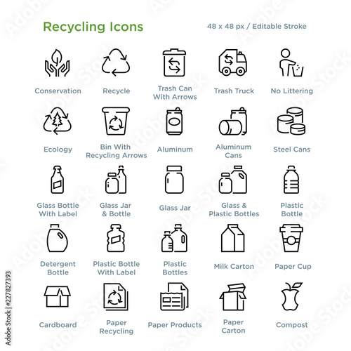 Pinturas sobre lienzo  Recycling Icons - Outline styled icons, designed to 48 x 48 pixel grid