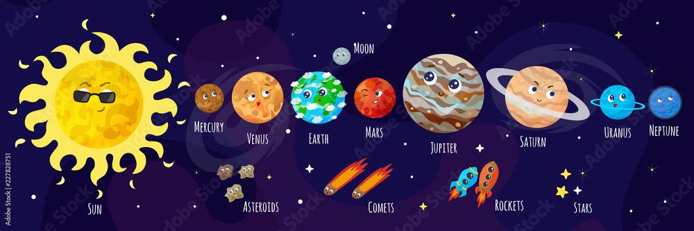 Fototapeta Vector illustration of space, universe. Cute cartoon planets, asteroids, comet, rockets. Kids illustration.