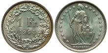 Switzerland Swiss Silver Coin 1 One Franc 1964, Value And Date Flanked By Oak And Floral Sprigs, Female With Lance Holding Shield With Swiss Cross, Greenish Patina,