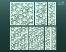 Laser And Die Cut Ornamental Panels Template Set With Pattern Of Ginkgo Leaves. Ratio 1:1, 1:2, 1:3, 1:4, 2:3, 3:4. Cabinet Fretwork Panel. Lasercut Metal Panel. Wood Carving.