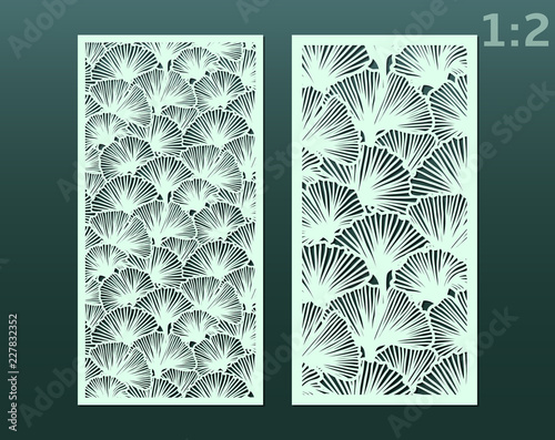 Laser And Die Cut Ornamental Panels Template With Pattern Of Ginkgo