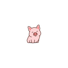 Cute Pig Smiling Cartoon Icon,...