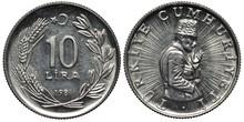 Turkey Turkish Aluminum Coin 10 Ten Lira 1982, Value And Date Flanked By Sprigs, Half-length Bust Of Mustafa Kemal Atatürk On Radiant Background,