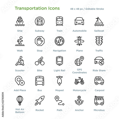 Fotografie, Obraz  Transportation Icons - Outline styled icons, designed to 48 x 48 pixel grid