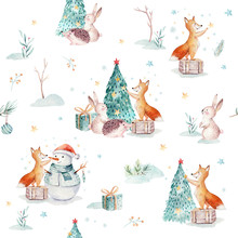 Watercolor Merry Christmas Seamless Patterns With Gift, Snowman, Holiday Cute Animals Fox, Rabbit And Hedgehog. Christmas Tree Celebration Paper. Winter New Year Design.