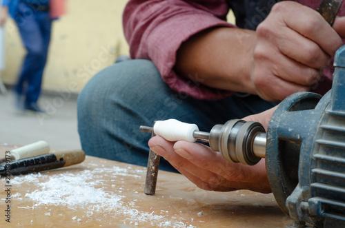 Craftsman is shaping meerschaum Canvas Print