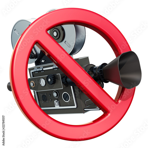 Forbidden sign with movie camera. 3D rendering