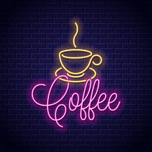 Coffee Neon Banner. Cup Of Cof...