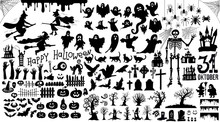 Set Of Halloween Silhouettes B...