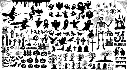 Obraz na plátně Set of halloween silhouettes black icon and character