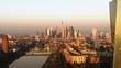 Frankfurt ECB Skyline Aerial Shot at early sunrise reflecting sun