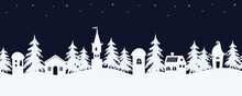 Christmas Background. Fairy Tale Winter Landscape. Seamless Border. There Are White Fantastic Lodges And Fir Trees On A Starry Sky Background In The Image. Vector Illustration