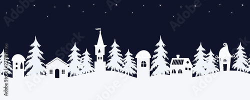 Foto op Aluminium Wit Christmas background. Fairy tale winter landscape. Seamless border. There are white fantastic lodges and fir trees on a starry sky background in the image. Vector illustration